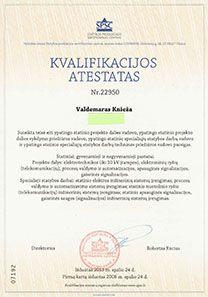 Kvalifikacijos atestatas ypatingo statinio projekto dalies vadovo
